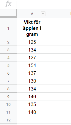 Kalkylark tabell