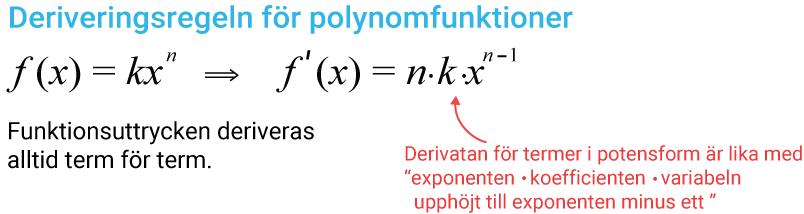 Deriveringsregel för polynomfunktioner