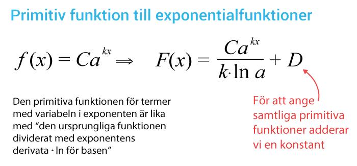 Regel för primitiv funktion till exponentialfunktioner