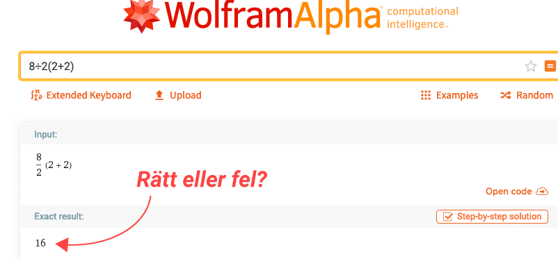 wolframs svar på ekvationen