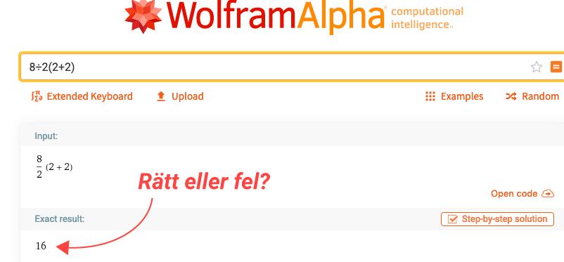 wolframs svar på ekvationen
