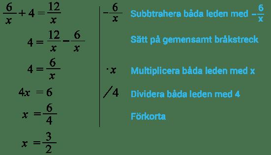 Ekvationslösning exempel med nämnare