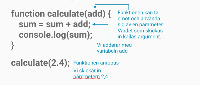 Funktion med en parameter i javascript