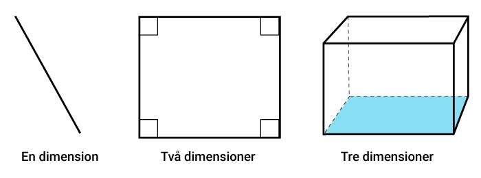 Geometri i en dimension, två dimensioner och tre dimensioner